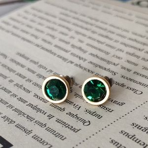 Lia Sophia Gold Tone Dark Green Stud Earrings